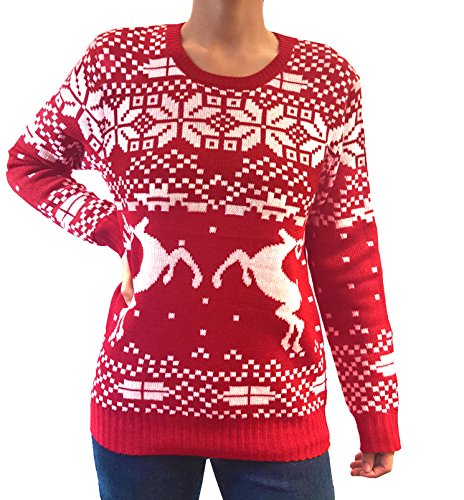 Wet Seal Women's Knit Pullover Reindeer Design Christmas Ugly Sweater (Red, Large)