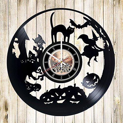 Vinyl Record Halloween Costume (Helloween HANDMADE Vinyl Record Wall Clock - Living room wall decor - Gift ideas for friends, kids, children –Dark Unique Art Design)