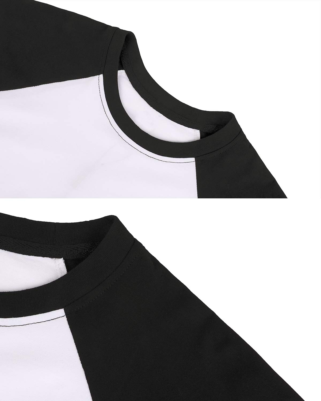 LEMONMOON Women\'s 3/4 Sleeve T-Shirt Round Neck Top Baseball Tee(SS001W/White and Blacks)