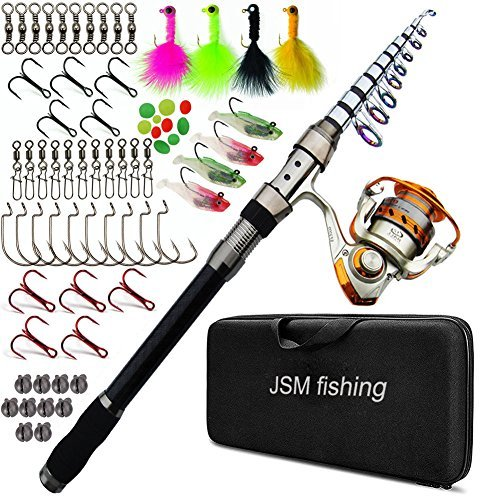 JSHANMEI Spin Spinning Rod and Reel Combos Fishing Carrier Bag Case Portable Telescopic Fishing Rod with Reel Combo Sea Fishing Saltwater Freshwater Fishing Pole Rod Set (2.7M Full KIT)