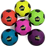 "Atomic Athletics 6 Pack of Neon Rubber Playground Soccer Balls - Youth Size 4, 8"" Balls with Air Pump and Mesh Storage Bag by K-Roo Sports"