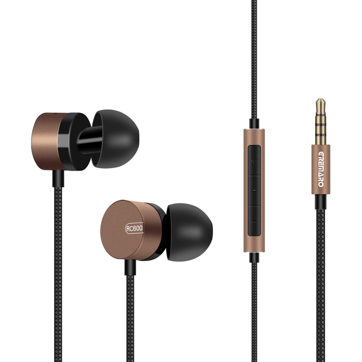 Gremaro Earbuds Headphones with Microphone Bass Metal Housing in Ear High Definition Noise Cancelling Earphones Wired Lightweight Volume Control Headset Sweatproof (Brown)