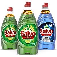 Salvo Lavatrastes Liquido Limon 750 ml, 2 Unidades + Power Clean 750 ml, 1 Unidad. Total 2.3Lts