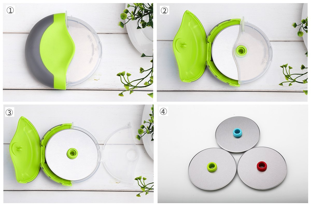 Kitchy Pizza Cutter Wheel - Super Sharp and Easy To Clean Slicer, Kitchen Gadget with Protective Blade Guard (Green) by Kitchy (Image #6)