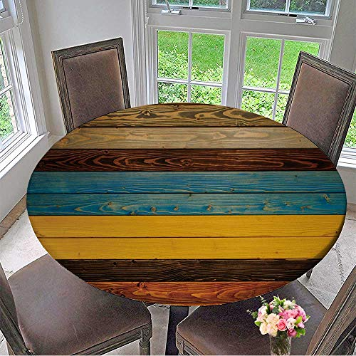 Mikihome Round Premium Table Cloth Color Full Wooden Texture Background Colorful Panels Perfect for Indoor, Outdoor 59