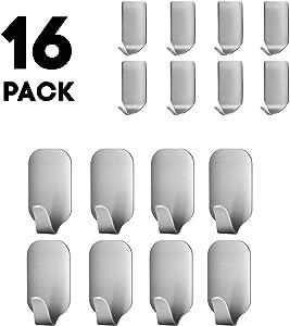 Belursus Adhesive Hooks Heavy Duty Wall Hooks Stainless Steel Ultra Strong Waterproof Hanger for Robe Coat Towel Keys Bags Home Kitchen Bathroom (Set of 16)