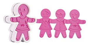 Tovolo Gingerbread Girls Templates Reverse, Dishwasher Safe, Set of 6 Cookie Stamps with Cutter