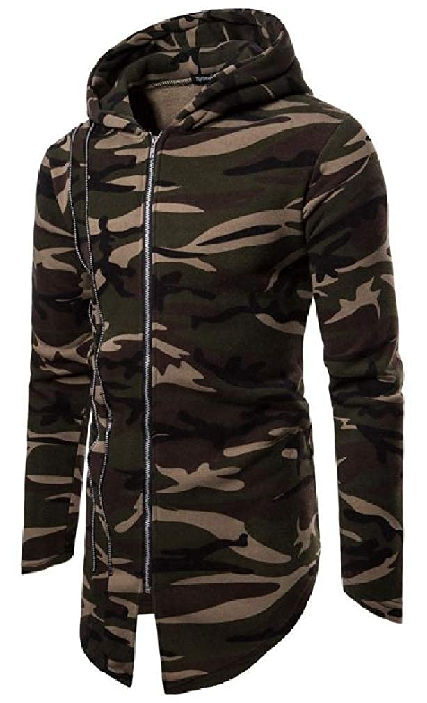 Sweatwater Mens Camouflage Printed Hip Hop Zipper Irregular Hooded Sweatshirts