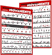 Crossfit Exercise Workout Poster Set – Guide with 45 Main WOD Movements for Full Body Training – Bodyweight, B