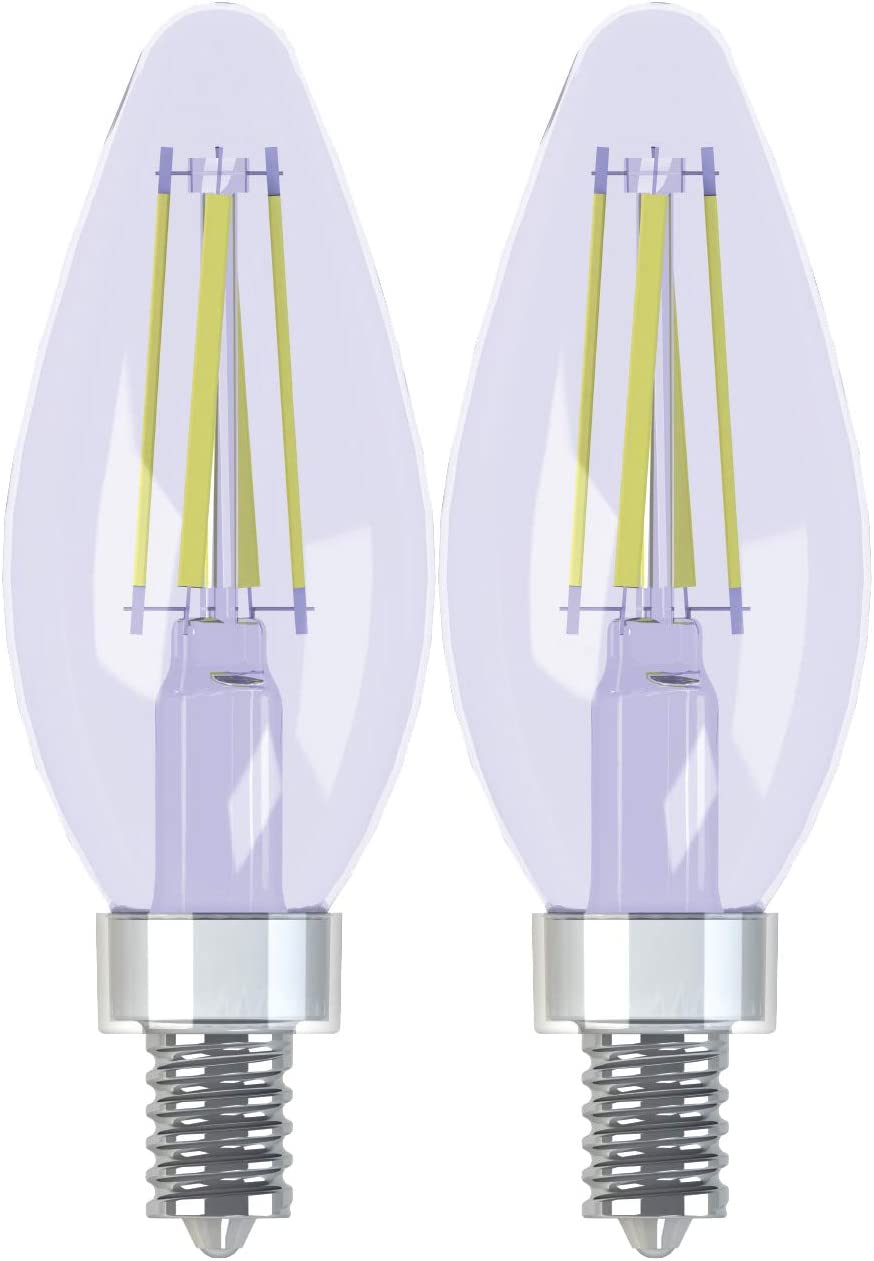 GE Lighting 31879 Light Bulb Reveal HD Dimmable LED Decorative 5.5 (60-Watt Replacement), 420-Lumen Candelabra Base Bent Tip, 2-Pack