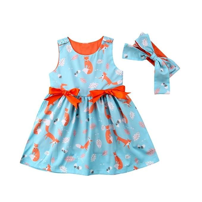 PAOLIAN Vestidos para bebé niñas Monos Verano Impresion de Fox y Hojas Conjuntos de Vestido +