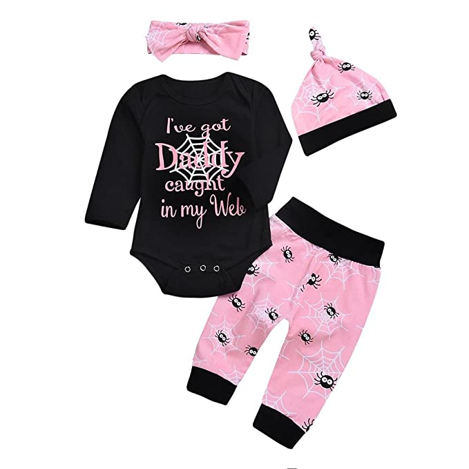 4pcs Baby Girls Outfits Set Letter Romper Spider Pants Hat Headband Spring Clothes 0 24m