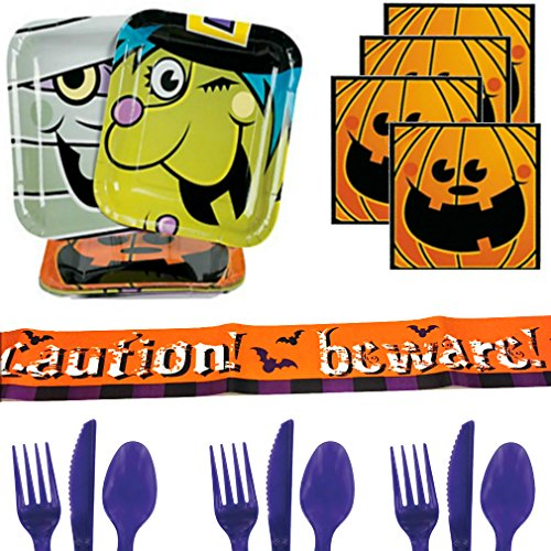 Halloween Party Supplies For 16 - Monster Plates, Napkins, Beware Banner Tape, Cutlery - Pumpkin, Witch, Mummy & Pumpkins Trick or Treat Party Pack - Toddlers, Boys, Girls, Kids, Adults (Mummy Halloween Treats)