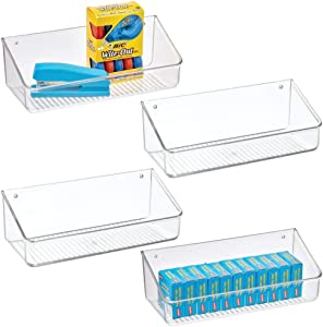 mDesign Wall Mount Plastic Home Storage Organizer Holder Tray Basket with Self-Adhesive Tape - Hanging Bin Shelf for Walls/Doors in Entryway, Mudroom, Bedroom, Bathroom, Office, Laundry, 4 Pack, Clear