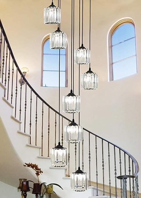 Lámpara colgante de espiral de escalera dúplex Luces colgantes largas for sala de estar Lámpara de techo Vidrio Lámpara larga moderna Lámpara múltiple Lámpara de cristal creativa de cristal 40x180cm: Amazon.es: Hogar
