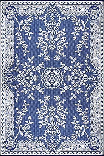 Mad Mats Garland Indoor Outdoor Floor Mat, 6 by 9-Feet, Blue and White