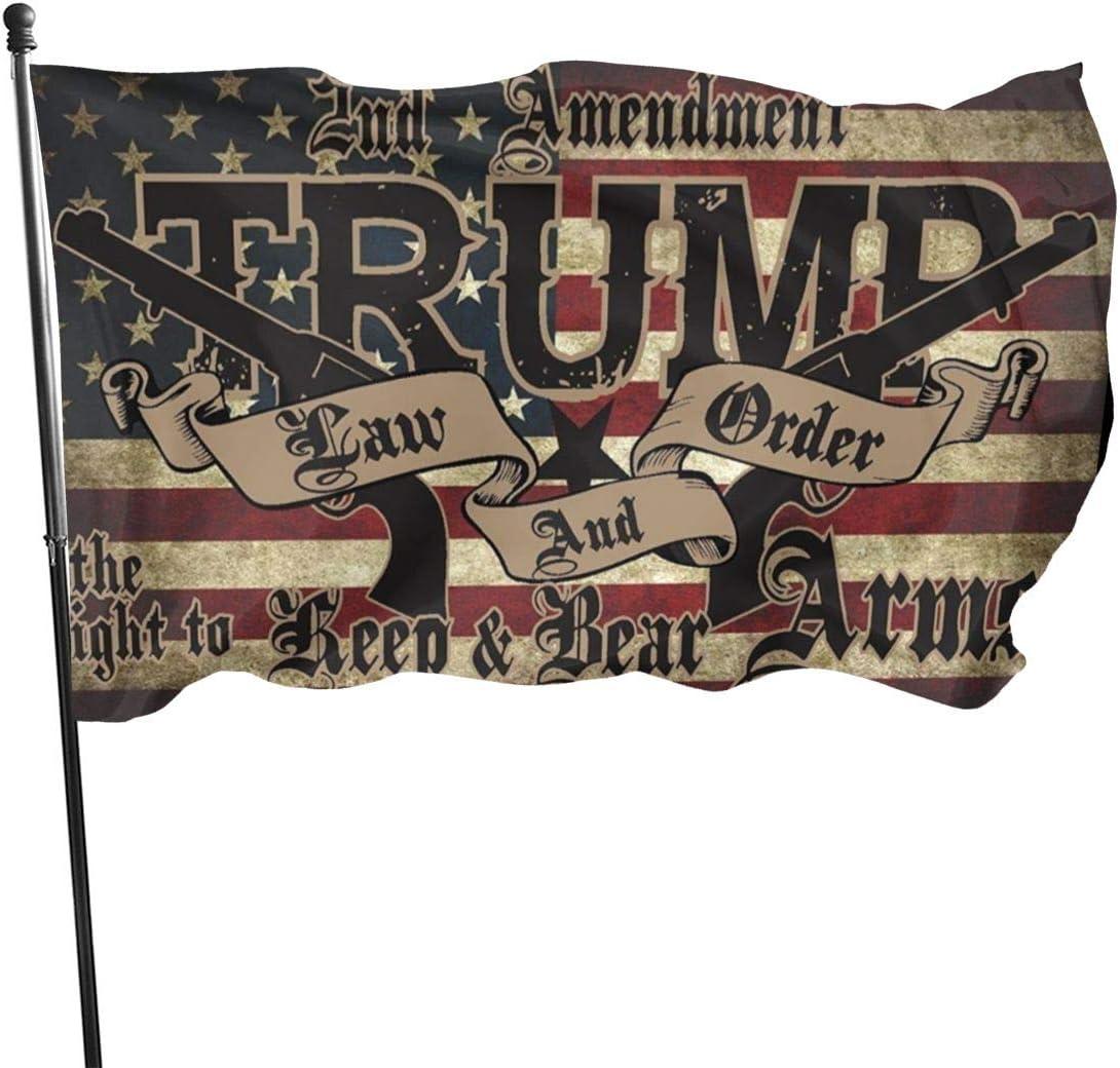 Graphics Trump Law & Order 2nd Amendment Guns American Flag 2020 Outdoor Flag Home Garden Flag Banner Breeze Flag Usa Flag Decorative Flag 3x5 Ft Flag
