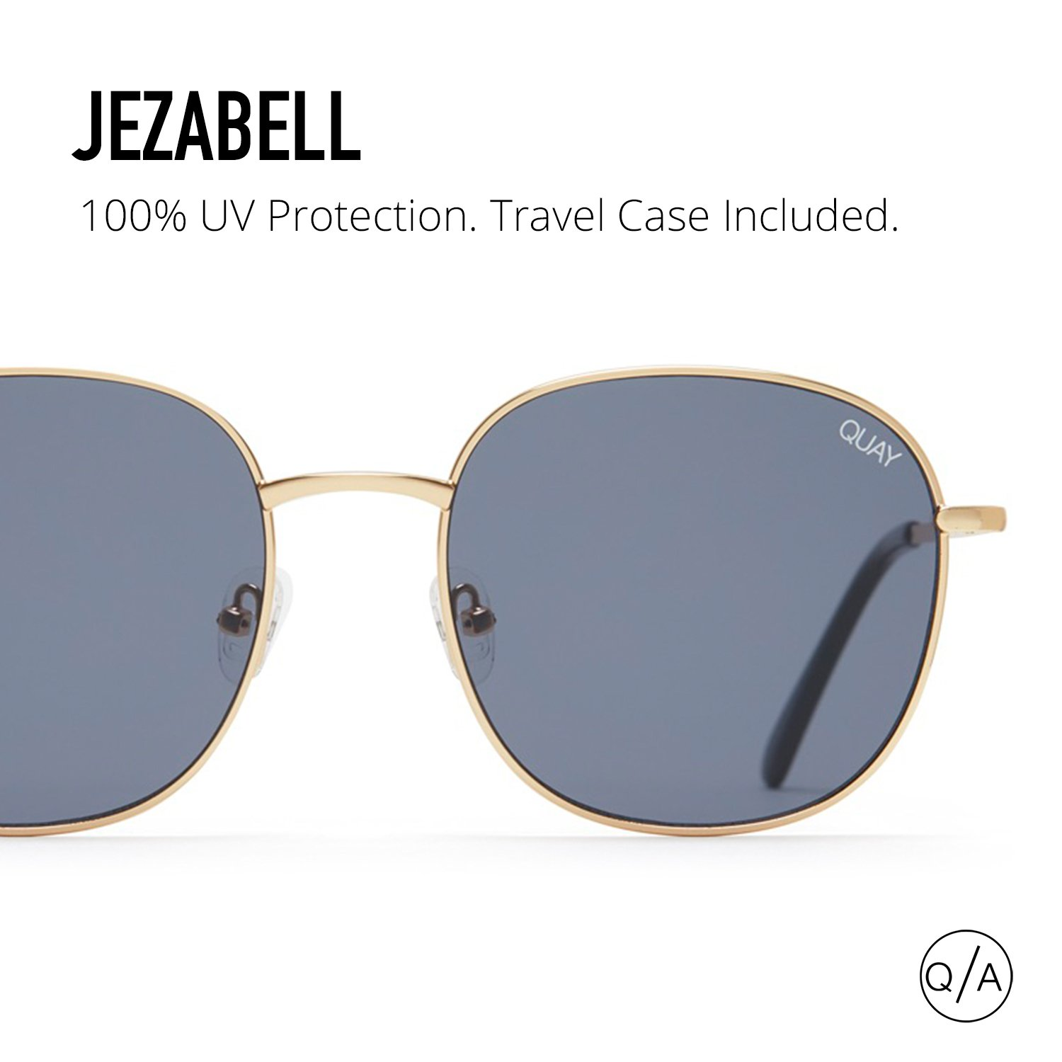 f470e4a17ea Amazon.com  Quay Australia JEZABELL Women s Sunglasses Minimal Round  Sunnies - Gold Smoke  Clothing