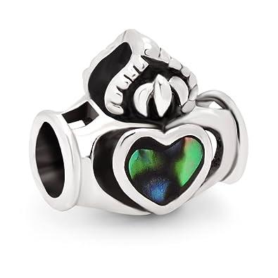925 Sterling Silver Natural Abalone Shell Inlay Claddagh Heart Love Symbol Bead Charm Fits Pandora Bracelet 9rQMLBl0ZD