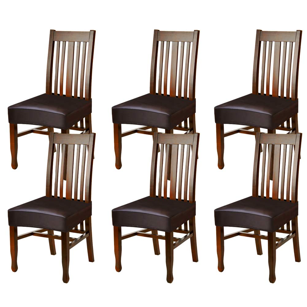 Fuloon Dining Chair Covers,Solid Pu Leather Waterproof and Oilproof Stretch Dining Chair Protctor Cover Slipcover (6 Sets, BNB) by Fuloon