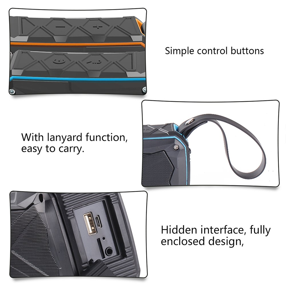 Bluetooth Speaker,POWERIVR Outdoor Sports Portable IPX6 Waterproof Bluetooth Speaker 4.1,Built in Mic,Enhanced Bass Sound,Double Horn Hands-Free Water Resistant Speaker (Orange)