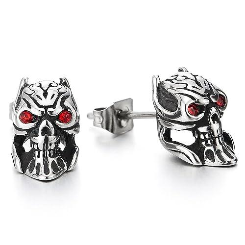 7c44c9fe9f4d3 Amazon.com: Pair Mens Boys Devil Skull Stud Earrings in Stainless ...