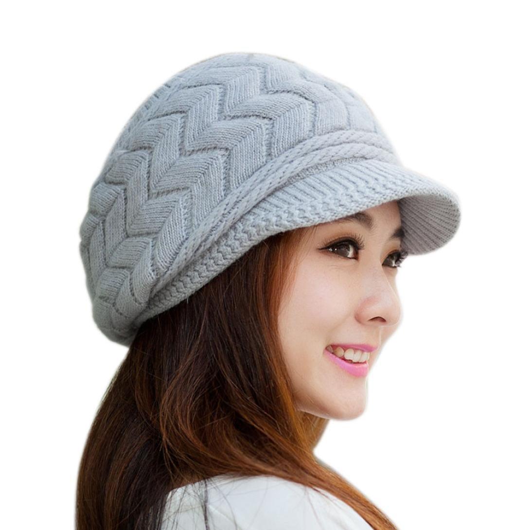 gris Malloom/® Mujeres sombrero invierno manera Skullies Gorros punto piel de conejo Cap
