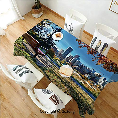 City Rectangle Polyester Tablecloth,Park Bench Overlooking The Skyline of Calgary Alberta During Autumn Tranquil Urban,Dining Room Kitchen Rectangle Table Cover,52W X 72L inches,Multicolor (Tables Calgary Room Dining)