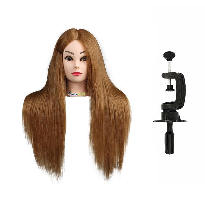 Maniquí de Cabeza para practicas de peluquería con cabello pelo real 80% 56cm (con soporte)-CoastaCloud: Amazon.es: Salud y cuidado personal