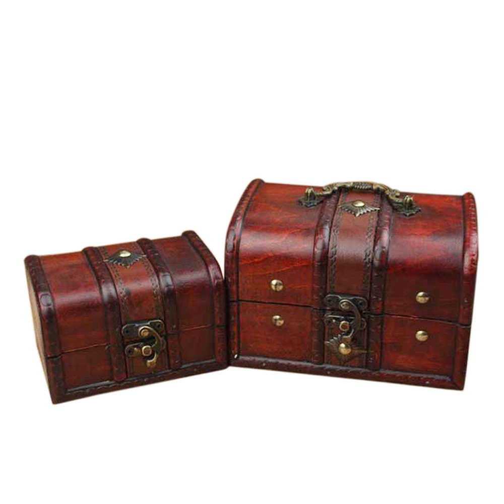 Coolrunner 2pcs Antique Vintage Wooden Box Stamp Flower Small Metal Lock Jewelry Treasure Chest Handmade Retro Wood Organizer Case Box (1)