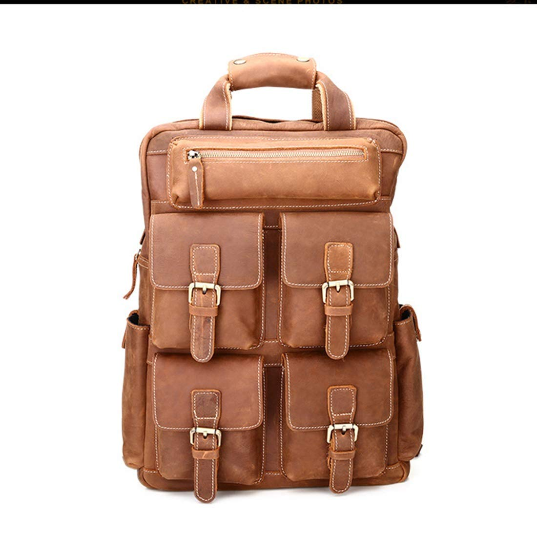 braun Mifusanahorn Multi Taschen Reisen Sporttasche Mens Handcrafted Vintage Echtleder Vintage Laptop Rucksack Schultertasche (Farbe   braun)