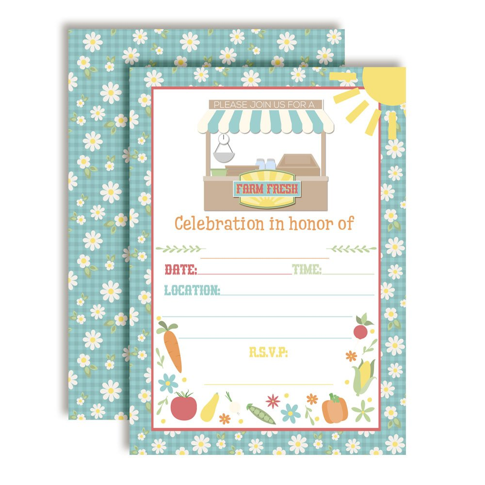 Farm Fresh Country Market Birthday Ten 5x7 Fill in Cards with 10 White Envelopes by AmandaCreation