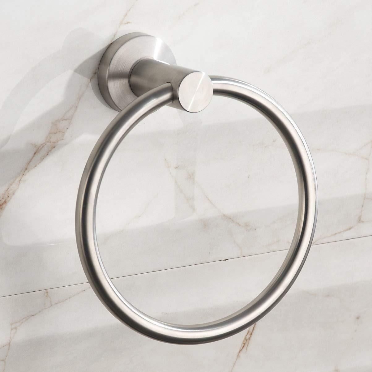 Nail Free No Drilling Adhesive Bathroom Kitchen Towel Ring Holder Round #3