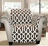 MN 1 Piece Brown Geometric Chair Protector, Medallion Shape Pattern Interlock Chain Chic Ikat Jacquard Modern Sleek Trendy Furniture Protection Covers Couch Protection Cover Pets Animals, Polyester