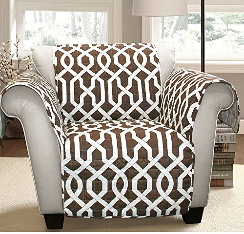 MN 1 Piece Brown Geometric Chair Protector, Medallion Shape Pattern Interlock Chain Chic Ikat Jacquard Modern Sleek Trendy Furniture Protection Covers Couch Protection Cover Pets Animals, Polyester by MN