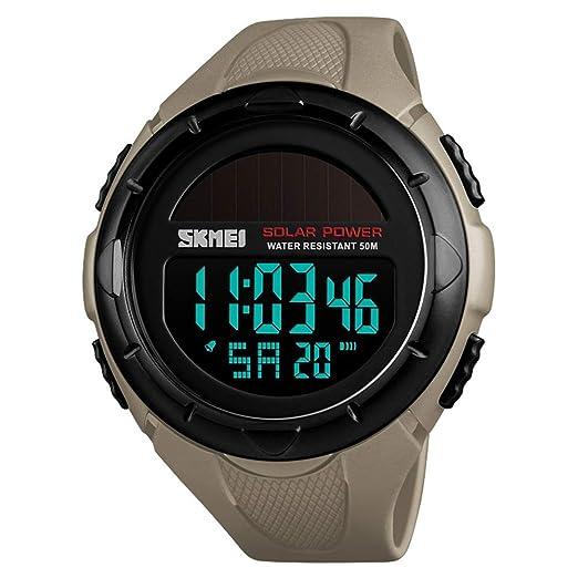 FeiWen Solar Relojes de Unisex 50M Impermeable Outdoor Militar LED Electrónica Multifuncional Digitales Deportivo Reloj de Pulsera Plástico Bisel con Goma ...