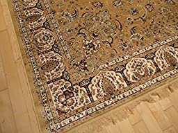 Persian Silk Brand Gold Rug Beige Area Rugs 5x8 Silk Tabriz Area Rugs 5x7 Living Room Rugs Gold Beige Floor Rug (Medium 5\'x8\')