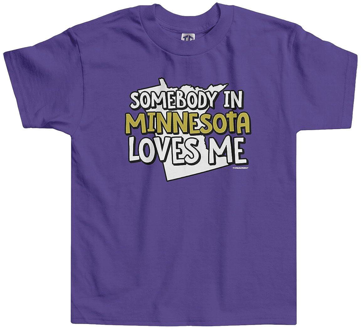 Threadrock Little Girls Somebody in Minnesota Loves Me Toddler T-Shirt