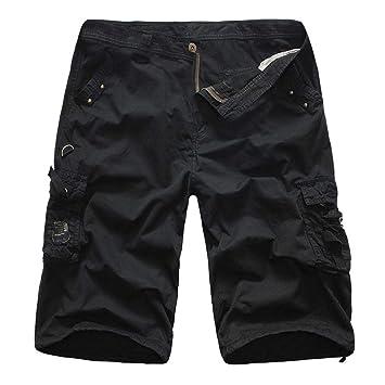 Gusspower Pantalones Cortos de Carga para Hombres de Verano Casuales de Hip Hop Multi Bolsillos Pantalones