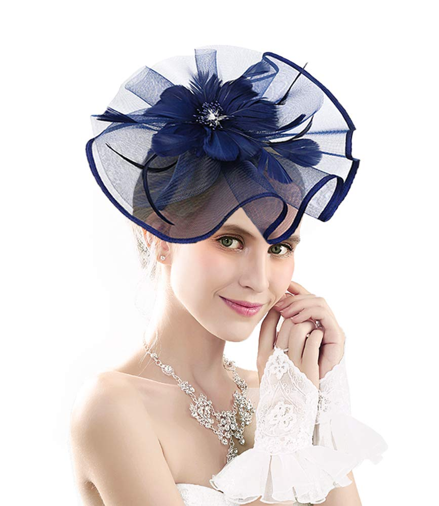Kentucky Derby Fascinators for Women Tea Party Hat Cocktail Sinamay Headpiece Flower Mesh Feathers Headband Navy_AD