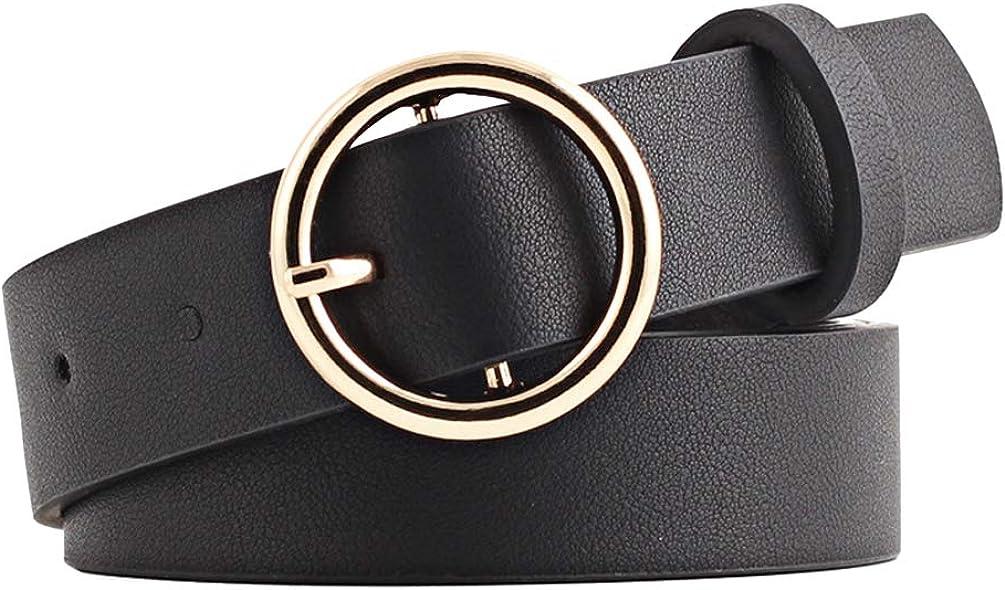 larghezza 2,6 cm NUREINSS Cintura da donna in pelle con fibbia rotonda