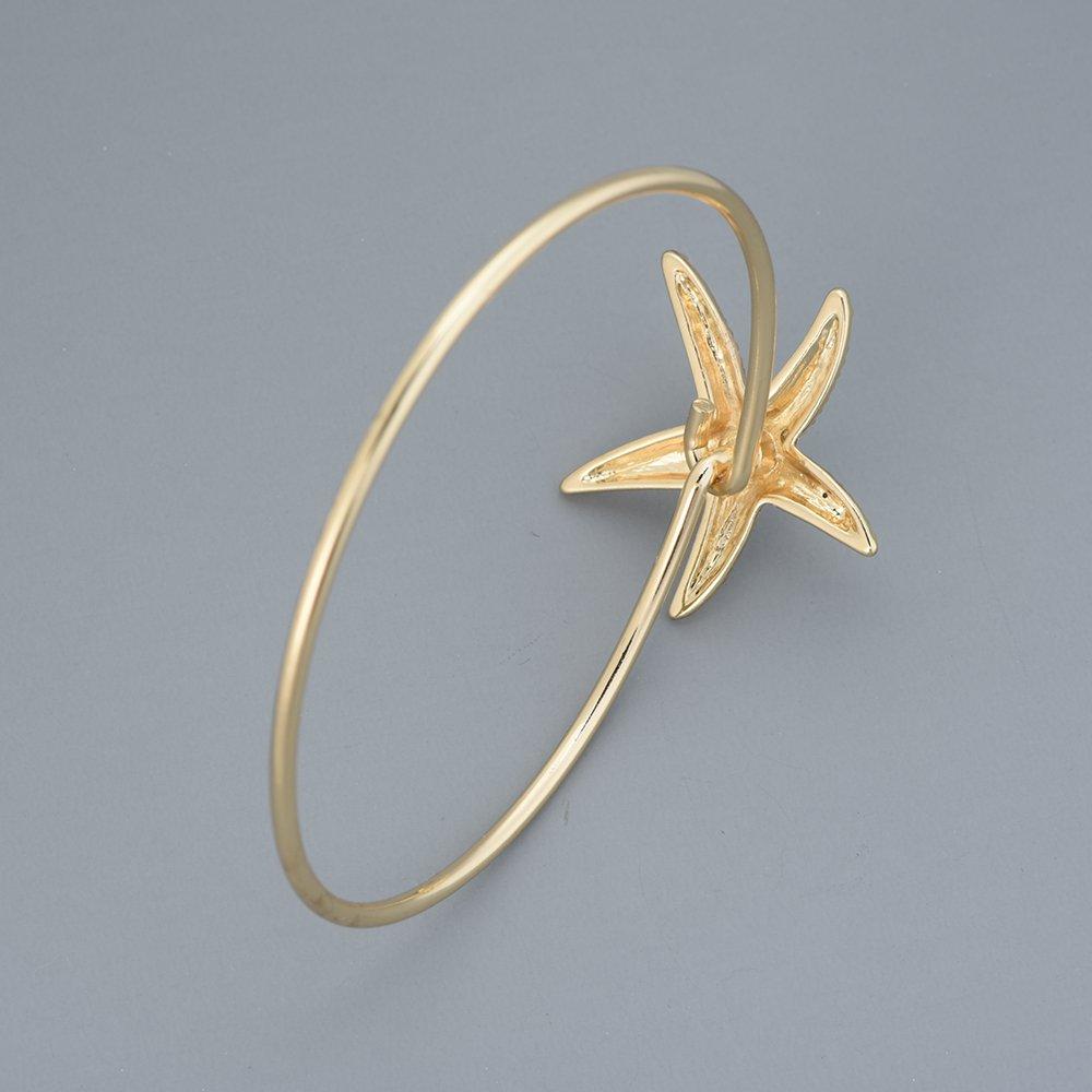 GUANDU Fashion Dainty Crystal Starfish Bracelet for Women Teen Girls
