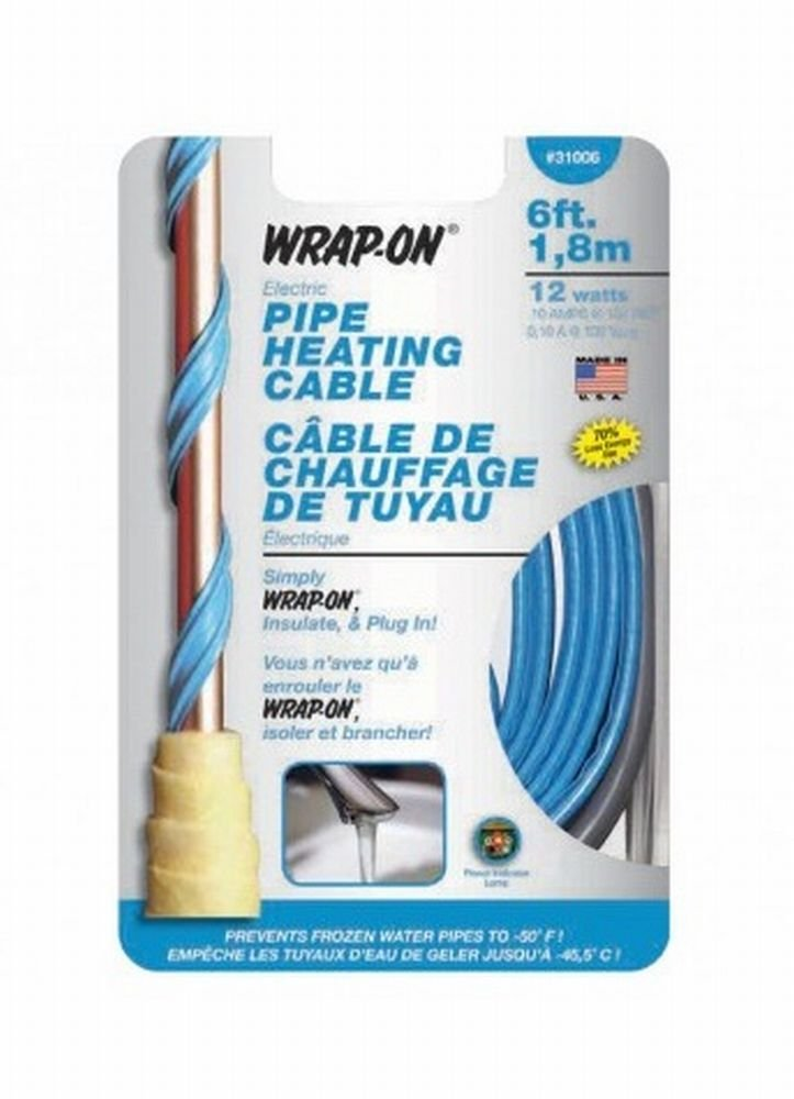 Wrap On 31006 8 Pack 6ft. 12W 120V Pipe Heating Cable, Blue
