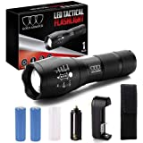 Gold Armour LED Tactical Flashlight, High Lumens Light with Rechargeable Battery & Holster, 5 Modes, Zoomable, and Water Resi