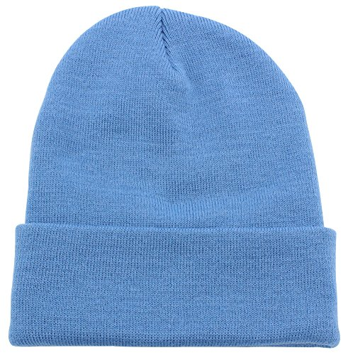 Top Level Unisex Cuffed Plain Skull Beanie Toboggan Knit Hat/Cap, Sky ()