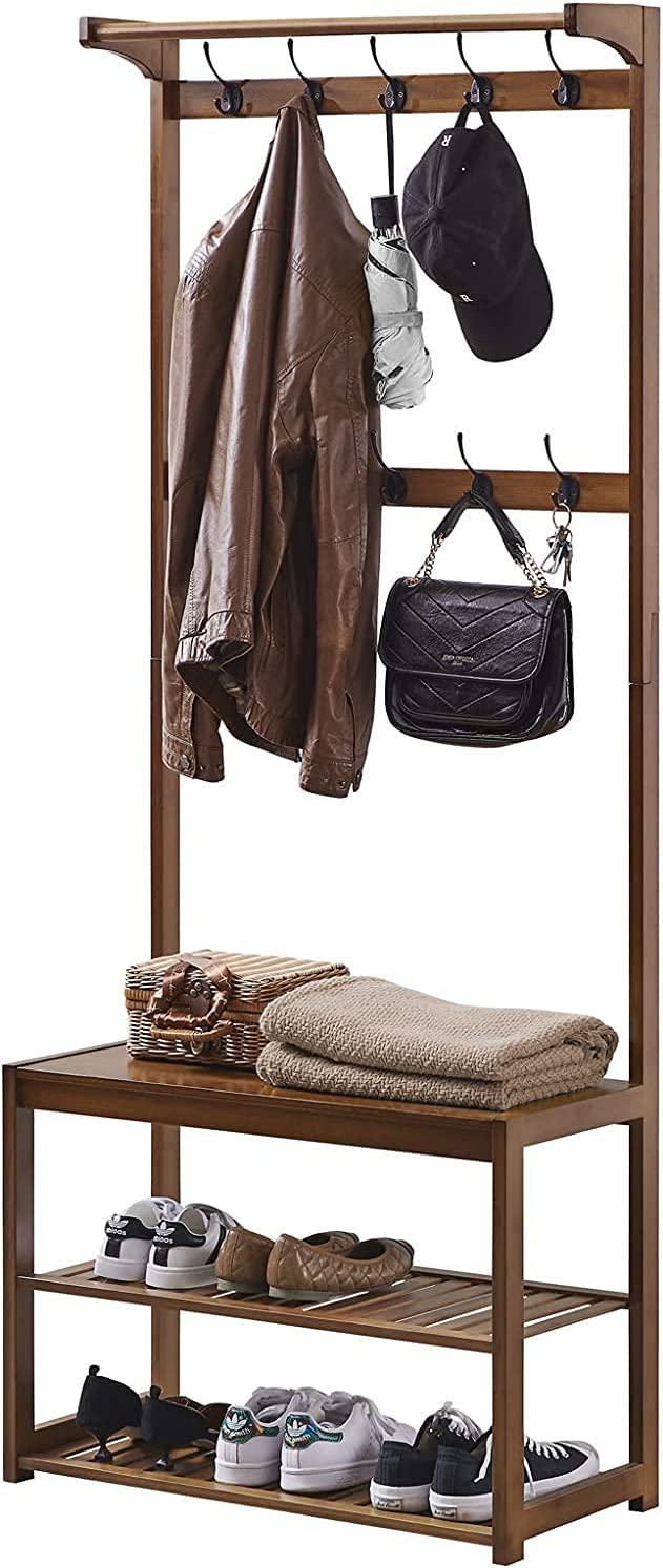 SEIRIONE Bamboo Coat Rack Shoe Bench Shelf, 3-In-1 Design Hall Tree, 10 Double Hooks, Easy Assembly, Tawny