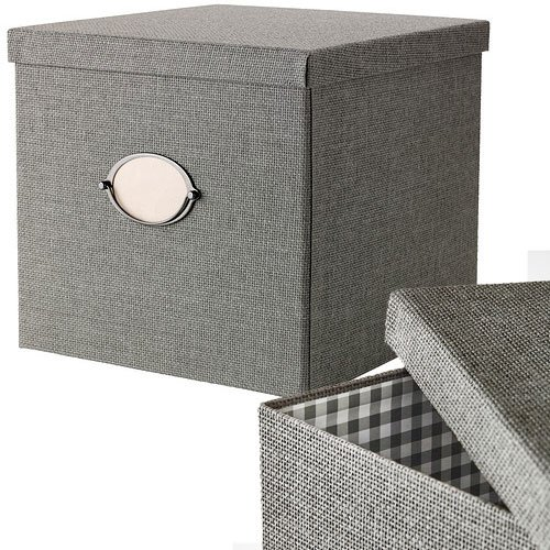 Ikea Kvarnvik Decorative Storage Box with Lid, Gray,linen Texture: Amazon.es: Hogar