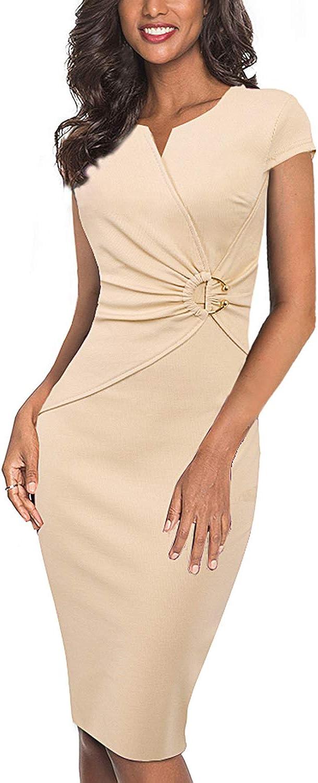 VFSHOW Womens Elegant V Neck Ruched Work Office Business Bodycon Sheath Dress