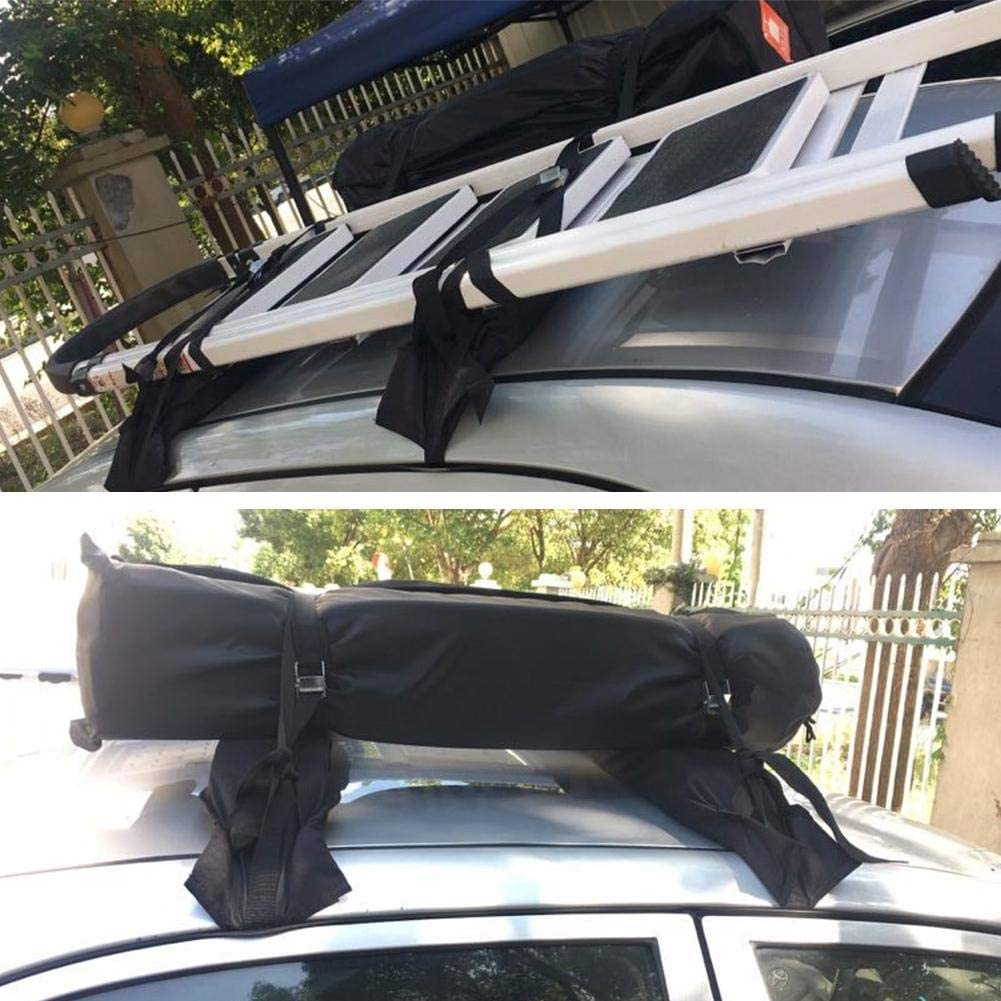 Ladder Luggage Exuberanter Universal Soft Car Roof Bars 600D Oxford PVC Soft Roof Rack For Kayak Surfboard Max Weight Capacity 60 Kg
