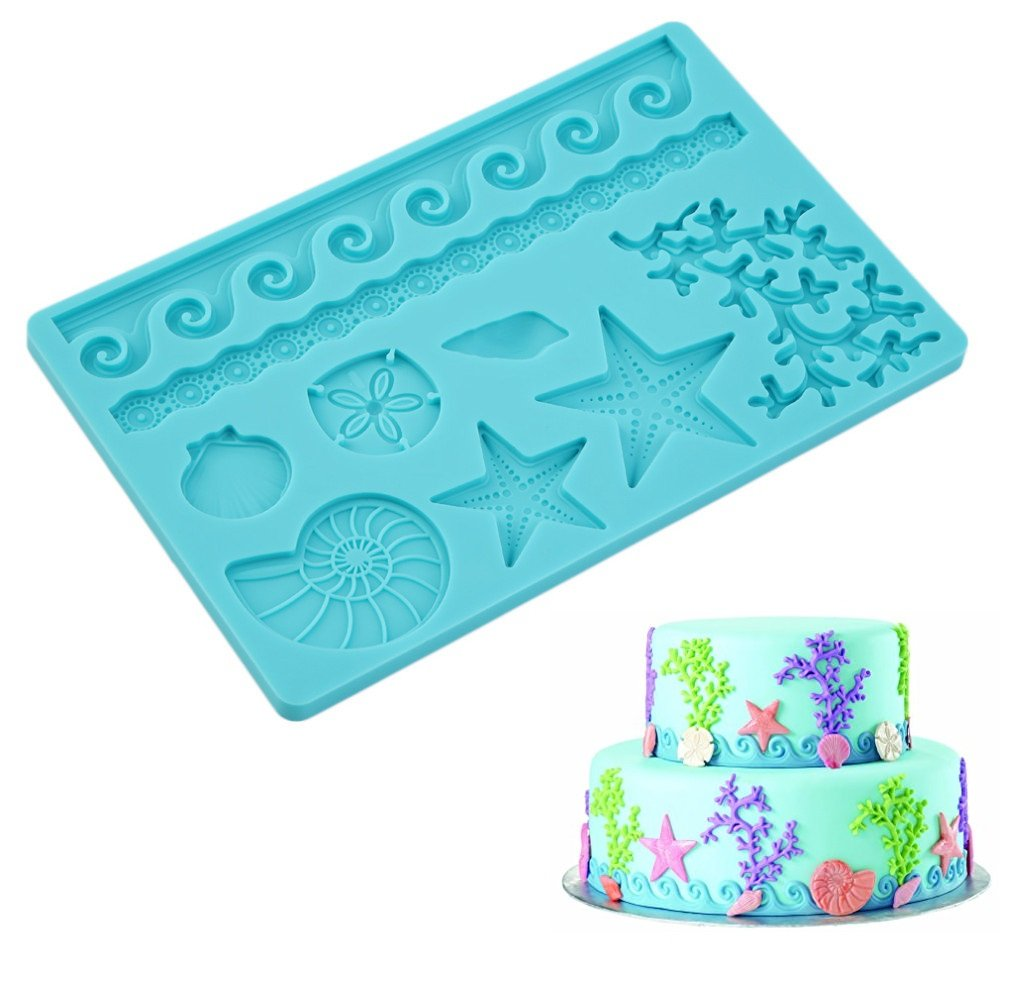 ELINKA Silicone Seashell Sea Life Fondant and Gum Paste Candy Cake Baking Mold For Cake Decorating Sealife Style Starfish Molds